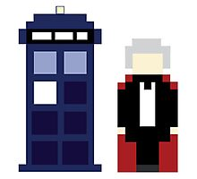 Pixel 3rd Doctor and TARDIS Photographic Print
