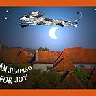 """I am jumping for joy"", dog jumping over the moon by Mary Taylor"