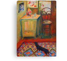 """Hallway entrance"", Dachshund on a persian rug Canvas Print"