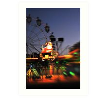 Fair ride at dusk Art Print