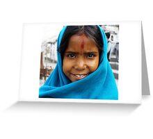 Nepali girl wear a blue shawl Greeting Card
