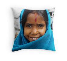 Nepali girl wear a blue shawl Throw Pillow