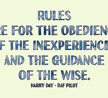 Rules are for the Obedience of the Inexperienced and the Guidance of the Wise. by MHen