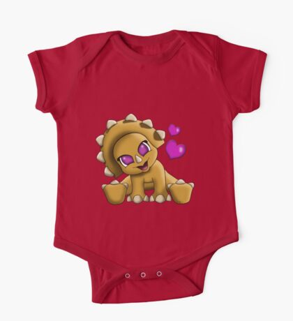 Baby Triceratop Floral One Piece - Short Sleeve