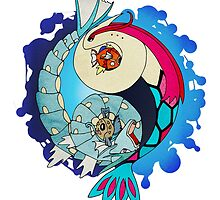 Paint-Splattered Aquatic Yin Yang - Milotic & Gyarados by vaguelygenius