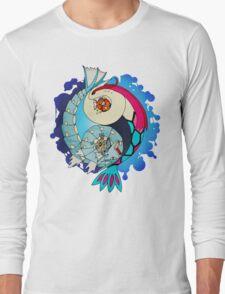 Paint-Splattered Aquatic Yin Yang - Milotic & Gyarados Long Sleeve T-Shirt