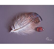 Feather and sea glass # 3 Photographic Print