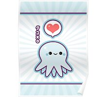Cute Blue Octopus Poster