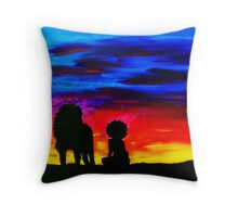 A Girl and Her Lion Throw Pillow