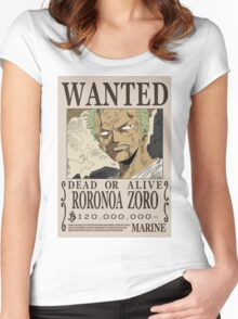 Roronoa Zoro Wanted Poster Women's Fitted Scoop T-Shirt
