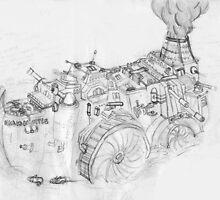 Steampunk battleship by klokked