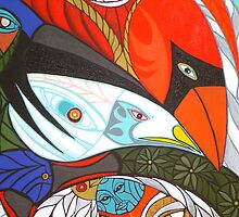 detail cardinal seagull crow by arteology