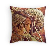 orange fox Throw Pillow