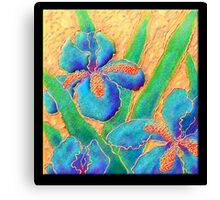 Poster, Print, 'Blue Iris On Crinkled Silk' Canvas Print