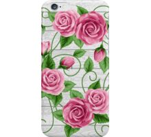 Wreath of roses on wood iPhone Case/Skin