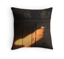 Morning sunlight on wooden cabinet Throw Pillow