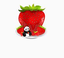 Panda & Strawberries  Womens Fitted T-Shirt
