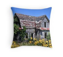 Old House & Flowers, Madison County Iowa Throw Pillow