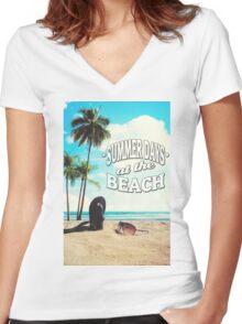 Summer Days Women's Fitted V-Neck T-Shirt