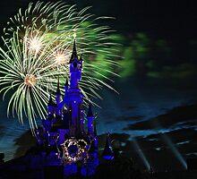 Fireworks Display over the Disneyland Castle by cvrestan