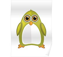 Yellow Green Penguin Poster