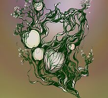 Garden paradise. Hand draw  ink and pen on textured paper by Sviatlana Kandybovich
