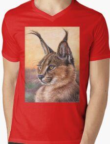 Caracal Sunset Mens V-Neck T-Shirt