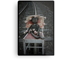 Blanches life had felt like a bit of a train wreck lately.  As she sat with her heart in her hands on the railway track she waited for the train to round the bend... Metal Print