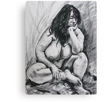 Life model resting her head Canvas Print