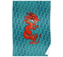 Red Dragon on Teal Poster