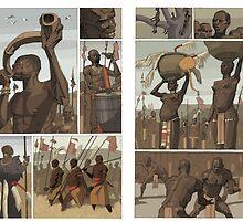 nubian wrestlers by David  Kennett