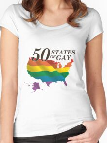 50 States of Gay Women's Fitted Scoop T-Shirt