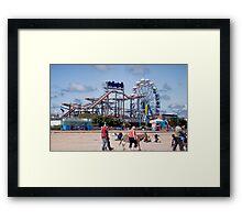 Skegness Fun Fair from the Beach Framed Print