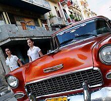 Old Chevy Street scene, Havana, Cuba by buttonpresser