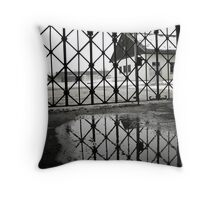 """Work makes one free"" - Dachau Throw Pillow"