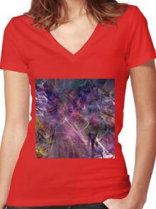 beautiful colorful abstract art Women's Fitted V-Neck T-Shirt