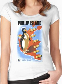 Phillip Island Victoria Australia Vintage Poster Restored Women's Fitted Scoop T-Shirt