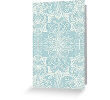 Floral Pattern in Duck Egg Blue & Cream Greeting Card