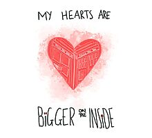 My Hearts are Bigger on the Inside Red Photographic Print