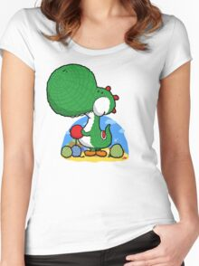 Wooly Egg Chucking Dinosaur Women's Fitted Scoop T-Shirt