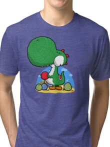 Wooly Egg Chucking Dinosaur Tri-blend T-Shirt