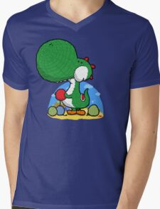 Wooly Egg Chucking Dinosaur Mens V-Neck T-Shirt