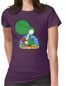 Wooly Egg Chucking Dinosaur Womens Fitted T-Shirt