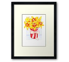 Vibrant, Yellow, Lily Morning Framed Print