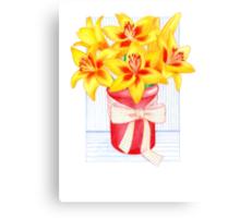 Vibrant, Yellow, Lily Morning Canvas Print