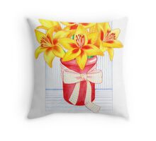 Vibrant, Yellow, Lily Morning Throw Pillow