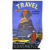 Egypt vintage travel poster Restored Poster