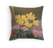 Back Yard Flowers Throw Pillow