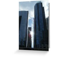 Sun between Chicago Buildings Greeting Card