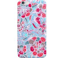 Sweet Spring Floral - cherry red & bright aqua iPhone Case/Skin